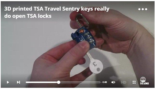 3D printed TSA Travel Sentry keys really do open TSA locks