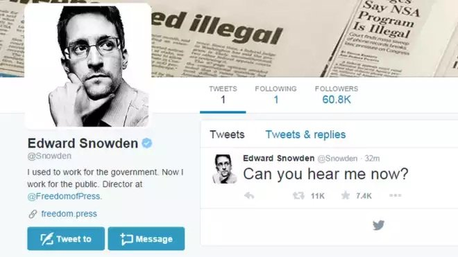 Edward Snowden joins Twitter and follows NSA