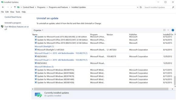 Where to uninstall updates. (Image ironically taken on Windows 10.)