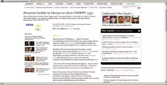 Screenshot showing the headline on an LA Times story that was altered by a hacker. The hacker obtained access to the Times server using credentials Matthew Keys provided