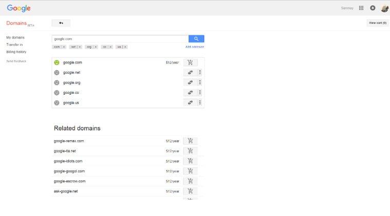 google.com purchase screen