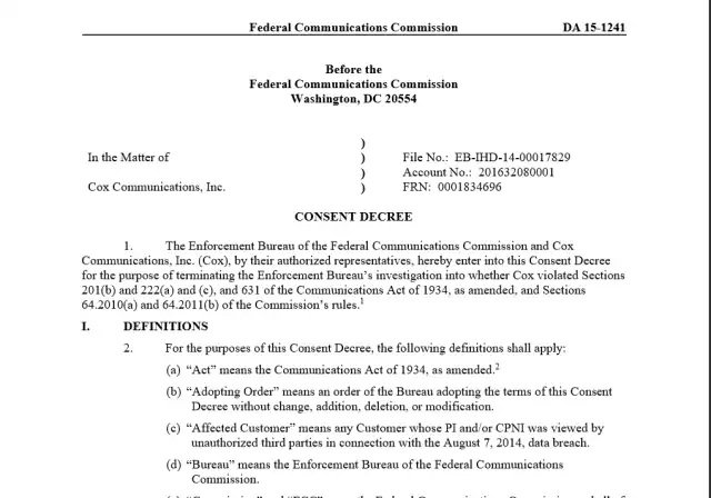 Enlarge / The FCC's consent decree with Cox Communications, fining the company for having a low threshold for phishing.