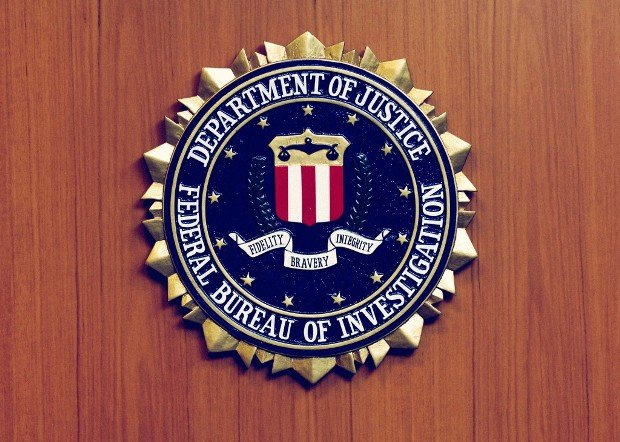 The picture shows the emblem of the Federal Bureau of Investigation (FBI) of the US Justice Department at the US American embassy in Berlin, Germany
