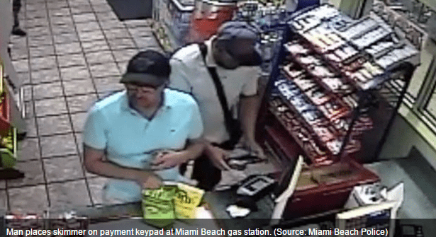 Placing a skimmer on Gas Station Card Scanner in less than 3 seconds