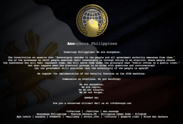Anonymous Philippines hacked the COMELEC. It is the biggest government related data breach