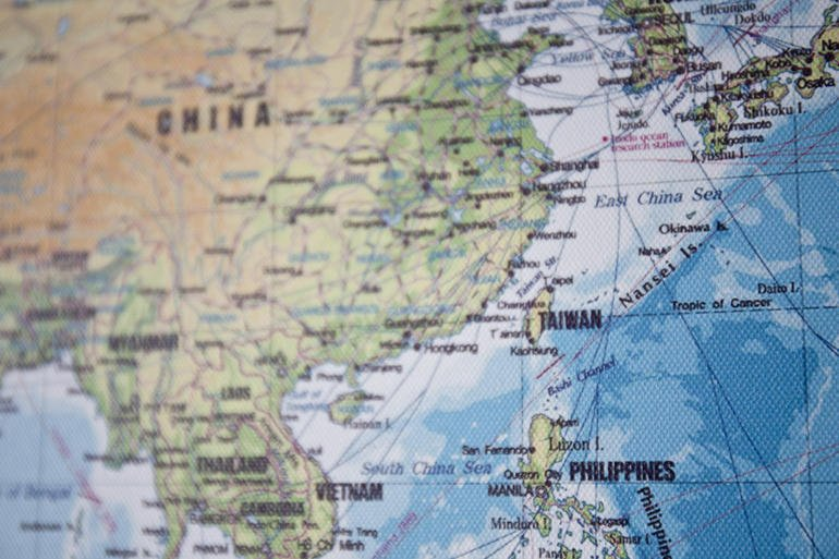 Map of East Asia with a focus on the South China Sea including, China, Taiwan, Phillipines and Vietnam.