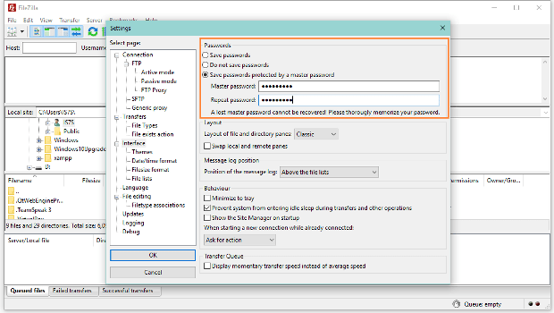 FileZilla FTP Client Adds Support for Master Password That