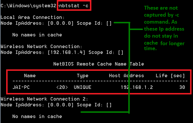 Netbios Over TCP/IP - nbtstat usage in detail  It can be