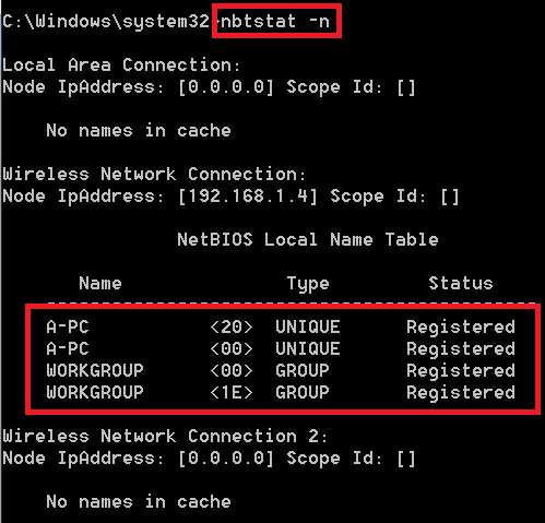 Netbios Over TCP/IP - nbtstat usage in detail  It can be used in