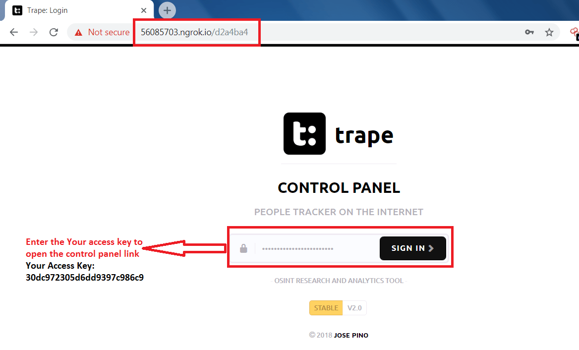 Track people on internet using Trape, demo tutorial