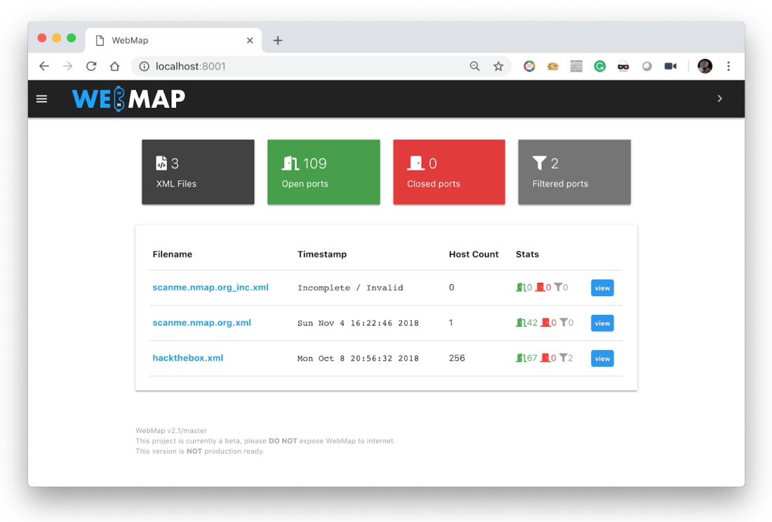 WebMap – A web dashboard for Nmap XML report