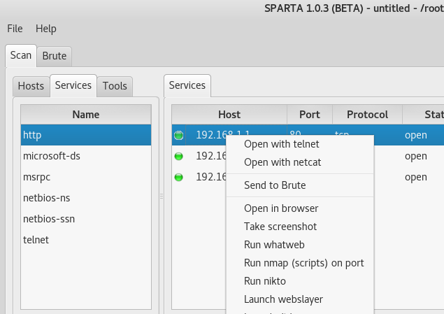 Scan, Crack passwords using Sparta wich contains many features