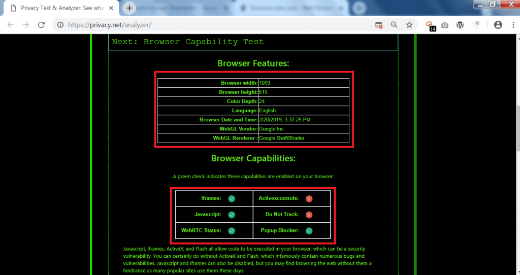 8941c0b94 It even shows the browser date & time. Web browser capabilities shows the  settings which are enabled in web browser.