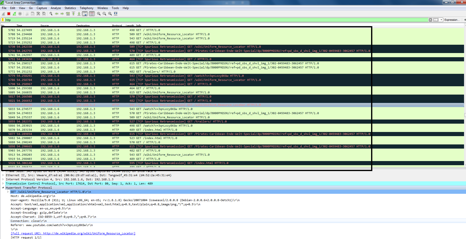 wireshark with random URL