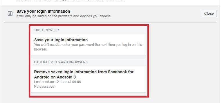 Facebook remove saved login info
