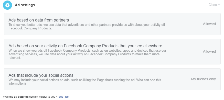 Stop facebook from showing personalized Advertisement