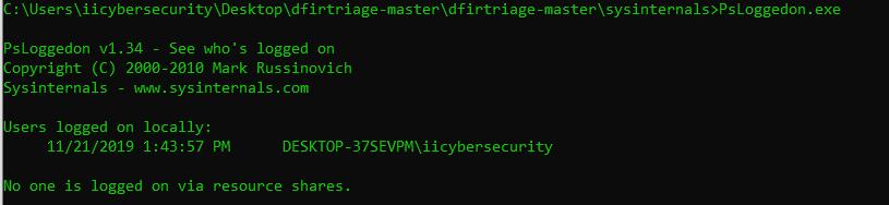 PsLoggedon.exe shows the logged users on Windows OS