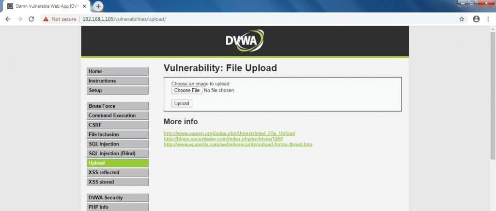 DVWA Vulnerability File Upload