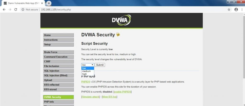 DVWA Security