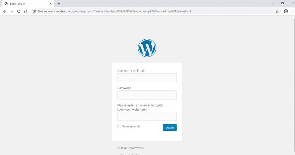 admin page of exide.com.pk