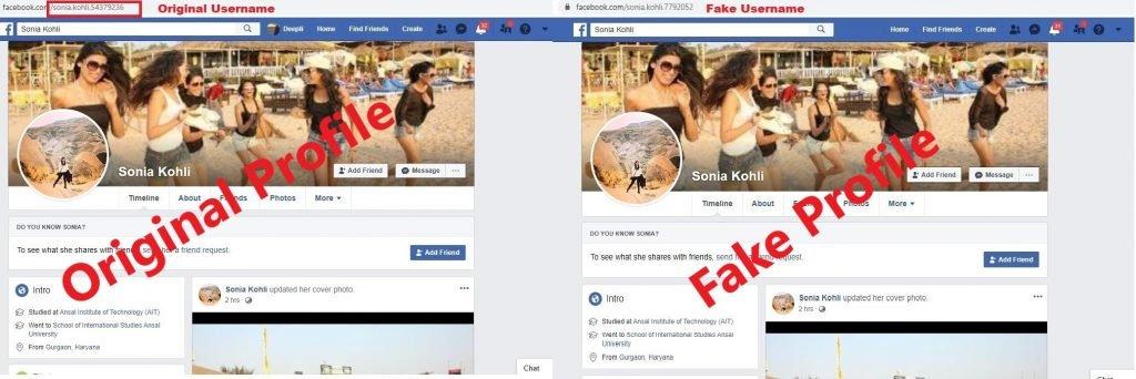 Original Profile And Fake Profile