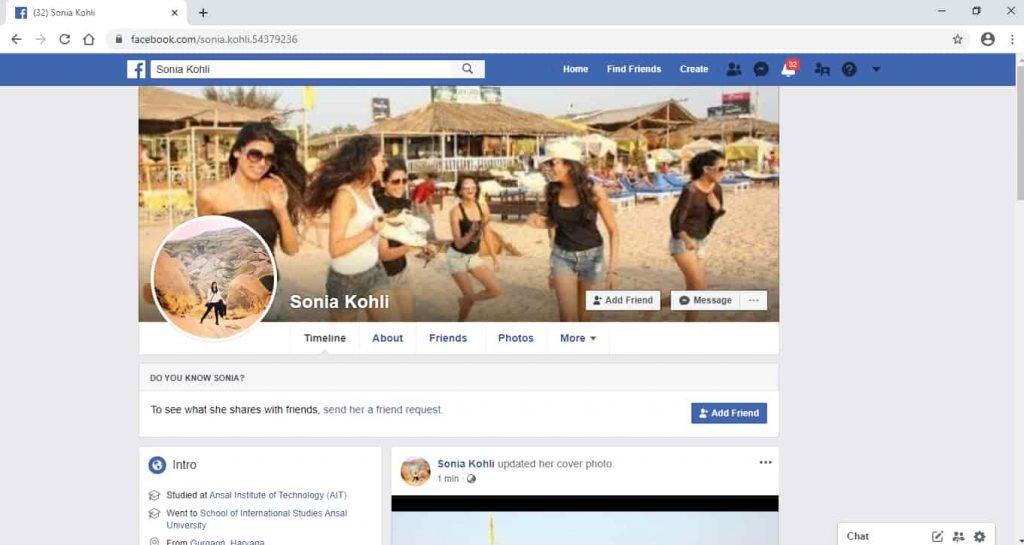 Facebook Profile - Sonia Kohli