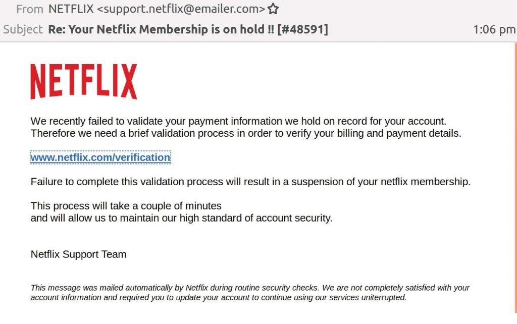 Netflix Phishing Email 2