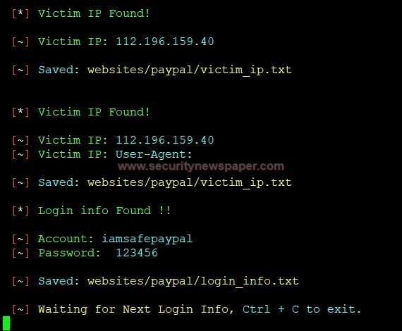 Victim's credentials