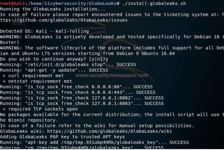 GlobaLeaks Install Fig 1