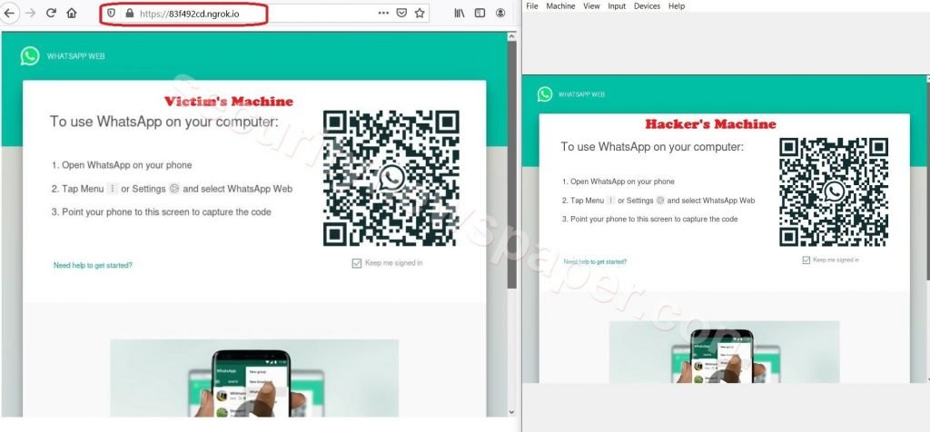 OhMyQR - right is the Hacker screen and on the left is the Victim screen