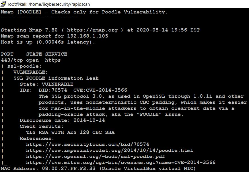 RapidScan - Poodle Vulnerability