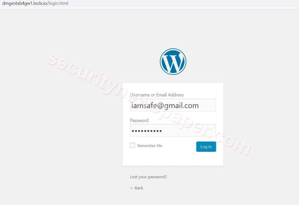 WordPress - Phishing Page