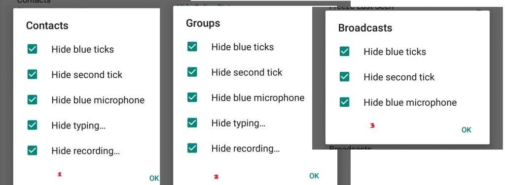 GB Whatsapp - Privacy Settings