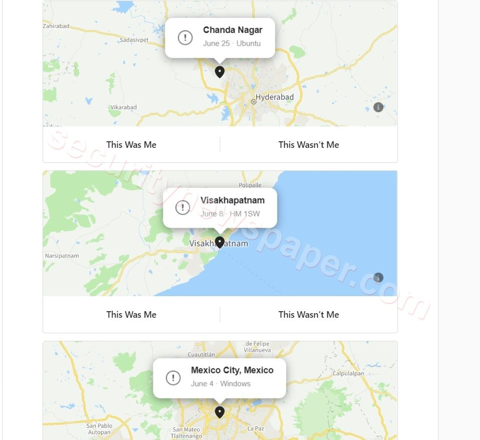 Instagram Login Activities Location
