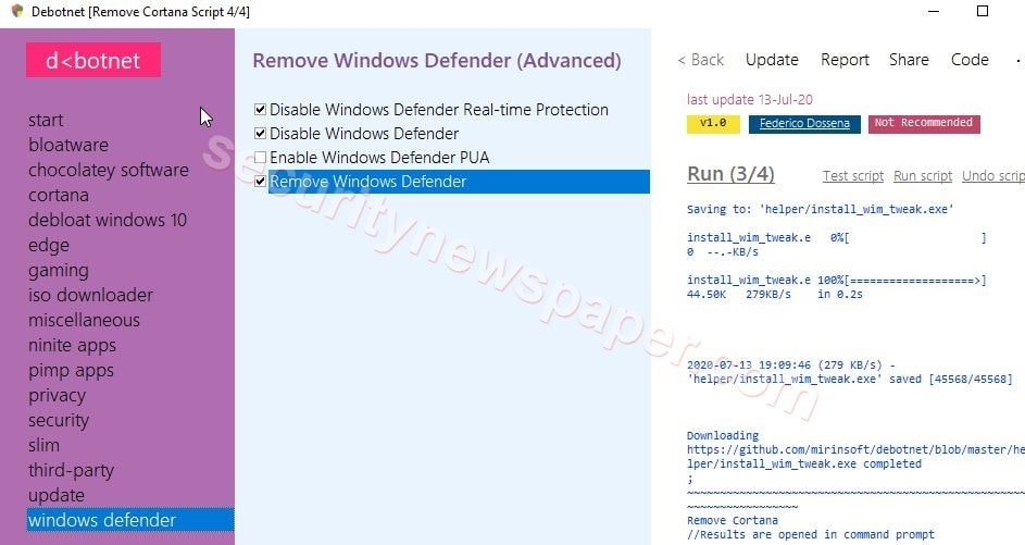 Debotnet - Windows defender