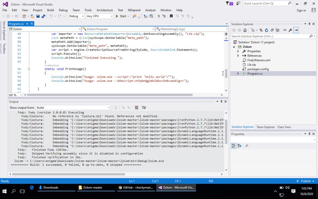 Zolom compiled in VS2015
