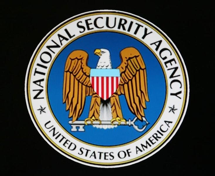The logo of the U.S. National Security Agency is seen during a visit by U.S. President George W. Bush to the agency's installation in Fort Meade, Maryland, January 25, 2006. Bush met with workers and made remarks on American national security at the high-security installation, which he last visited in 2002. REUTERS/Jason Reed - RTR18ZAD